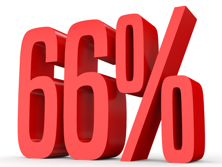 percent sign: Sixty six percent off. Discount 66 %. 3D illustration on white background.