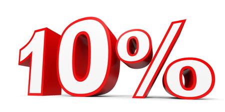 numero diez: Diez por ciento de descuento. Descuento 10%. Ilustración 3D sobre fondo blanco.