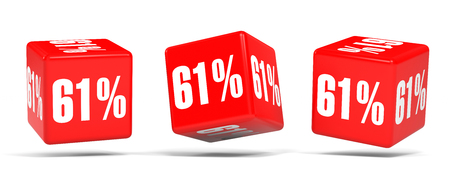 Sixty one percent off. Discount 61 %. 3D illustration on white background. Red cubes. Stock Photo