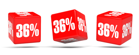 36 6: Thirty six percent off. Discount 36 %. 3D illustration on white background. Red cubes. Stock Photo