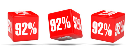 92: Ninety two percent off. Discount 92 %. 3D illustration on white background. Red cubes.