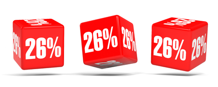 Twenty six percent off. Discount 26 %. 3D illustration on white background. Red cubes.