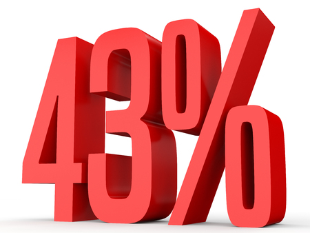 Forty three percent off. Discount 43 %. 3D illustration on white background. Stock Photo