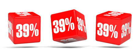 Thirty nine percent off. Discount 39 %. 3D illustration on white background. Red cubes. Stock Photo