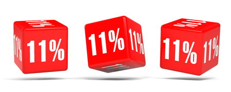Eleven percent off. Discount 11 %. 3D illustration on white background. Red cubes.