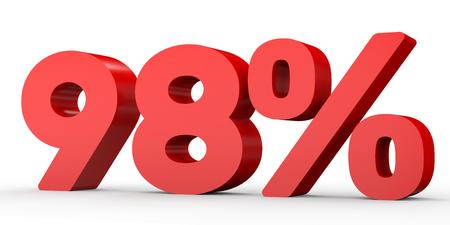 perdidas y ganancias: Ninety eight percent off. Discount 98 %. 3D illustration on white background.