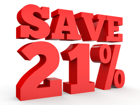 Twenty one percent off. Discount 21 %. 3D illustration on white background. Stock Photo