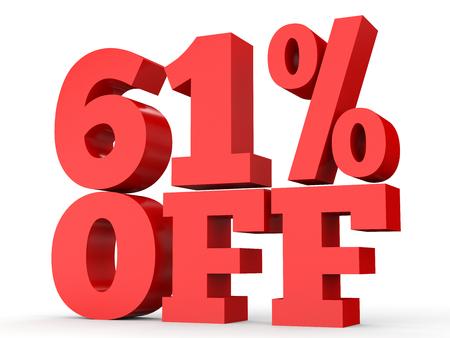perdidas y ganancias: Sixty one percent off. Discount 61 %. 3D illustration on white background.