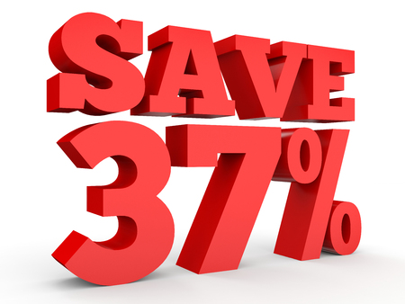 Thirty seven percent off. Discount 37 %. 3D illustration on white background. Stock Photo
