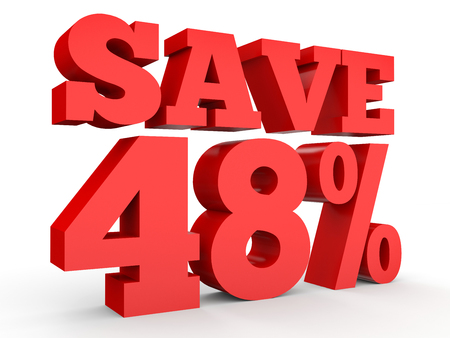 40: Forty eight percent off. Discount 48 %. 3D illustration on white background. Stock Photo