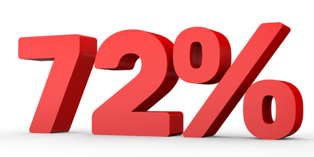 seventy: Seventy two percent off. Discount 72 %. 3D illustration on white background.