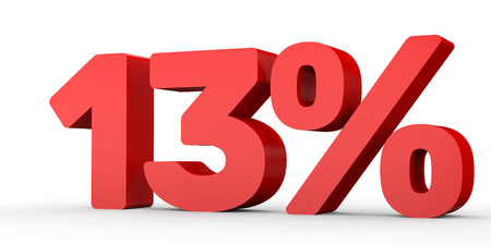 Thirteen percent off. Discount 13 %. 3D illustration on white background.