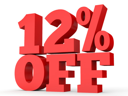 Twelve percent off. Discount 12 %. 3D illustration on white background. Banco de Imagens