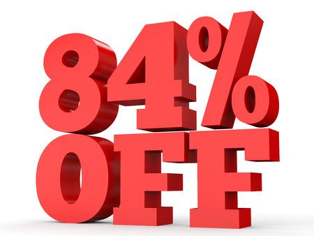 perdidas y ganancias: Eighty four percent off. Discount 84 %. 3D illustration on white background. Foto de archivo