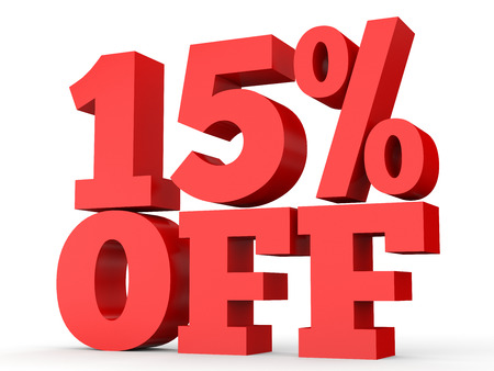 number 15: Fifteen percent off. Discount 15 %. 3D illustration on white background. Stock Photo
