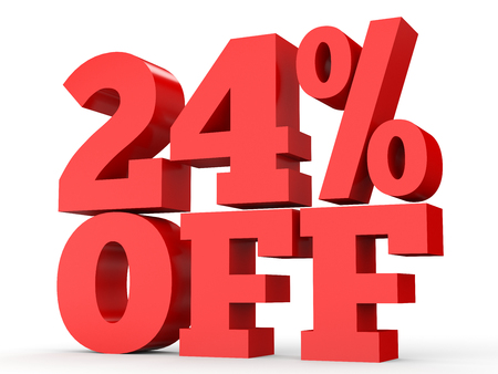 Twenty four percent off. Discount 24 %. 3D illustration on white background.
