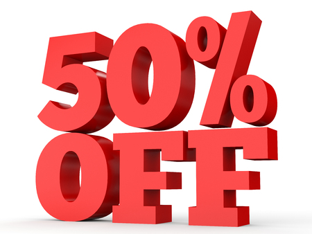 Fifty percent off. Discount 50 %. 3D illustration on white background.