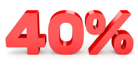 Forty percent off. Discount 40 %. 3D illustration on white background. Stock Photo