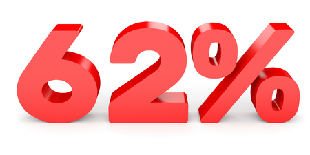 percentage: Sixty two percent off. Discount 62 %. 3D illustration on white background. Stock Photo