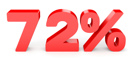 seventy two: Seventy two percent off. Discount 72 %. 3D illustration on white background.