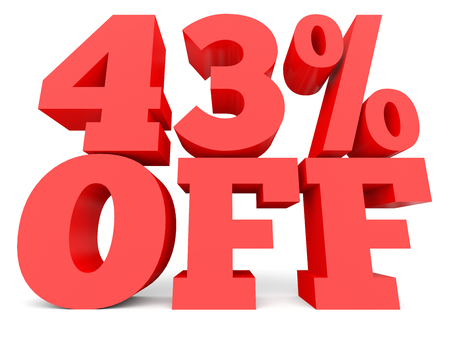 40: Forty three percent off. Discount 43 %. 3D illustration on white background. Stock Photo