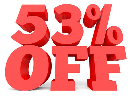 Fifty three percent off. Discount 53 %. 3D illustration on white background.
