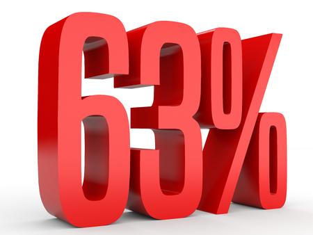 perdidas y ganancias: Sixty three percent off. Discount 63 %. 3D illustration on white background.