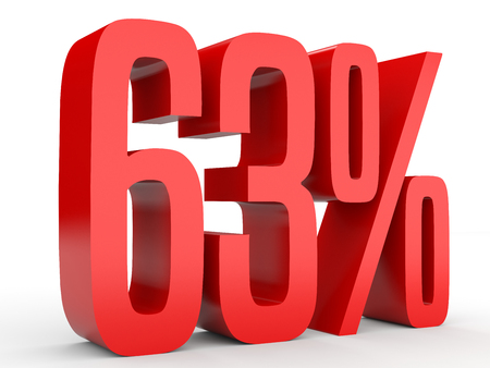 Sixty three percent off. Discount 63 %. 3D illustration on white background.