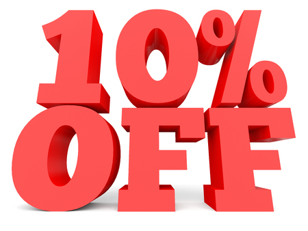 Ten percent off. Discount 10 %. 3D illustration on white background.