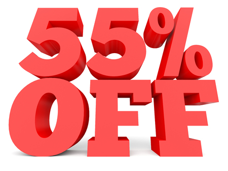 Fifty five percent off. Discount 55 %. 3D illustration on white background.