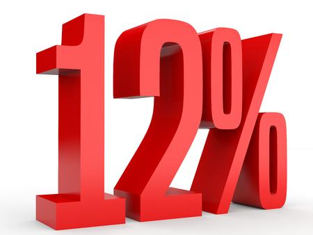 Twelve percent off. Discount 12 %. 3D illustration on white background. Stock Photo