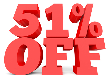 Fifty one percent off. Discount 51 %. 3D illustration on white background. Stock Photo