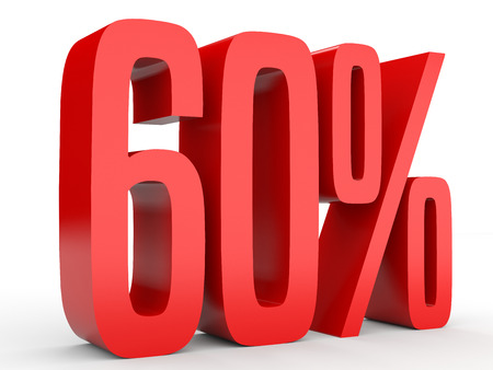 Sixty percent off. Discount 60 %. 3D illustration on white background.