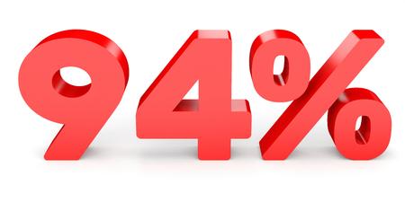 perdidas y ganancias: Ninety four percent off. Discount 94 %. 3D illustration on white background.