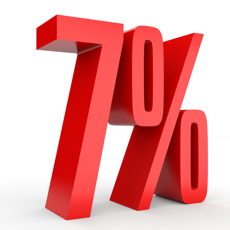 Seven percent off. Discount 7 %. 3D illustration on white background. Stock Photo