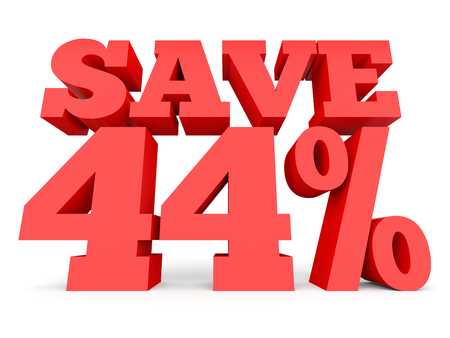 Forty four percent off. Discount 44 %. 3D illustration on white background.