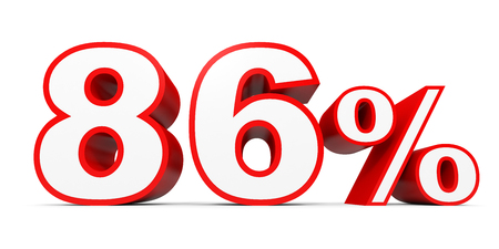 percentage: Eighty six percent off. Discount 86 %. 3D illustration on white background.