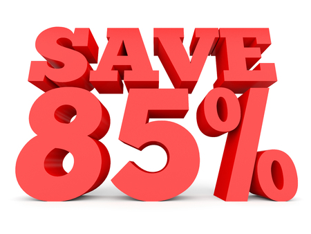 Eighty five percent off. Discount 85 %. 3D illustration on white background. Stock Photo