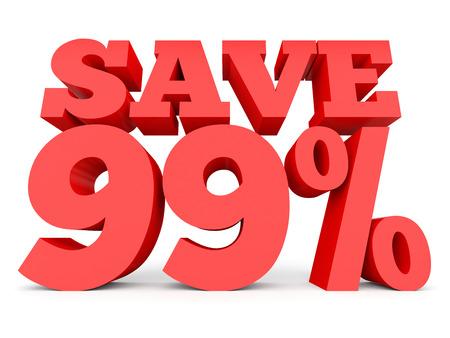 Ninety nine percent off. Discount 99 %. 3D illustration on white background. Stock Photo