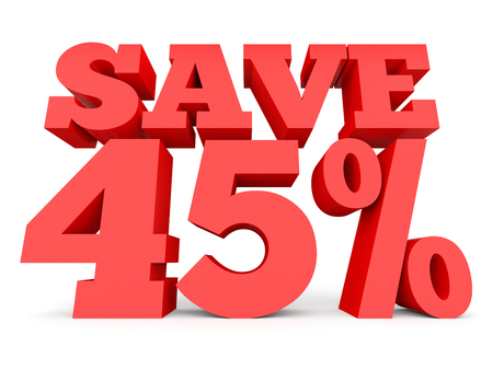 Forty five percent off. Discount 45 %. 3D illustration on white background. Stock Photo