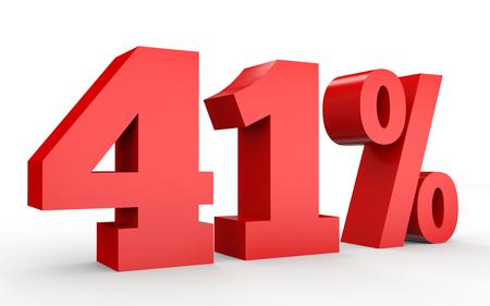1 つ 40% オフ。割引 41%。白い背景に 3 D のイラスト。