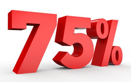 75% オフ。75% を割引します。白い背景に 3 D のイラスト。