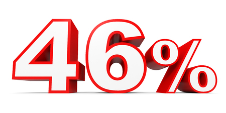40: Forty six percent off. Discount 46 %. 3D illustration on white background.
