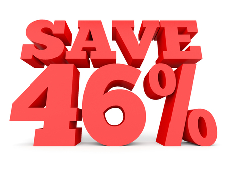 Forty six percent off. Discount 46 %. 3D illustration on white background.
