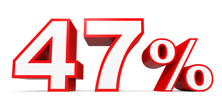 Forty seven percent off. Discount 47 %. 3D illustration on white background. Stock Photo