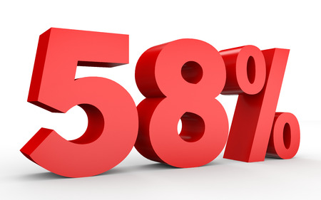 percentage: Fifty eight percent off. Discount 58 %. 3D illustration on white background. Stock Photo