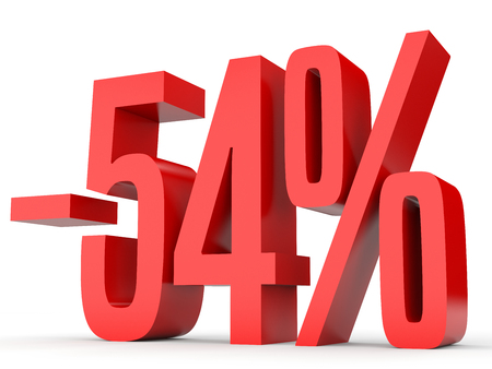 Minus fifty four percent. Discount 54 %. 3D illustration on white background.