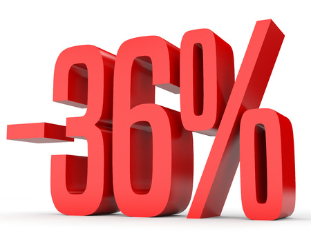 Minus thirty six percent. Discount 36 %. 3D illustration on white background.