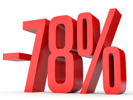 Minus seventy eight percent. Discount 78 %. 3D illustration on white background.