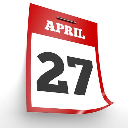 27: April 27. Calendar on white background. 3D illustration. Stock Photo